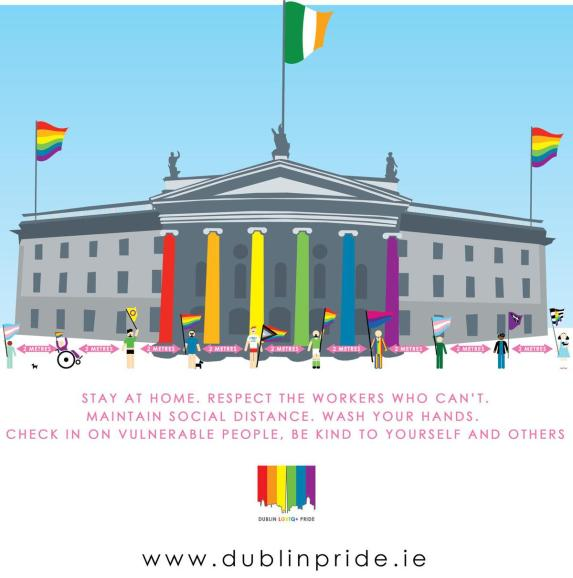 Dublin Pride image released amid COVID-19 concerns showing GPO pillars done in rainbow colours