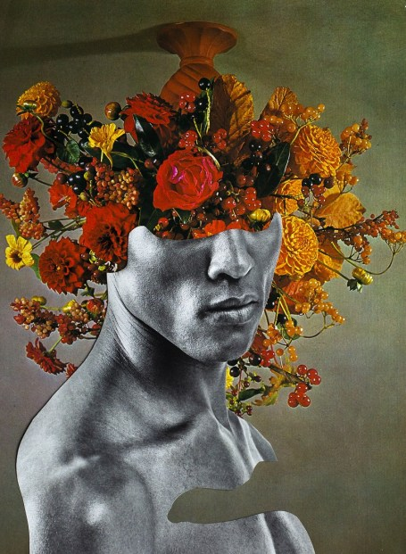 A man's bust with flowers growing out of his head, an image from Silvio Severino new digital exhibition in partnership with the Gay Project