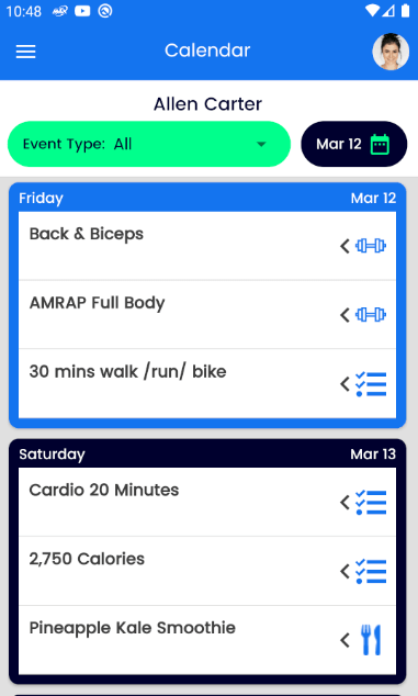 Calendar View for workouts and nutrition on Android