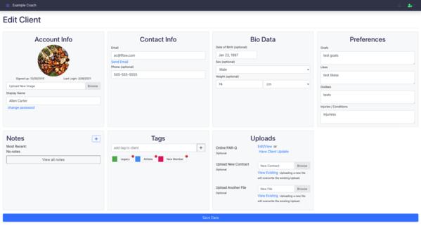 New Client Profile Layout for Better Client Management