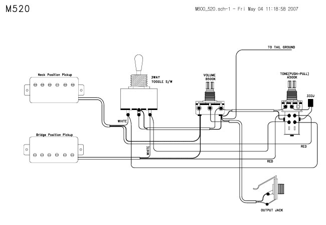 Guitar Wiring Drawings, Switching System/Cort/m520 Tab 04