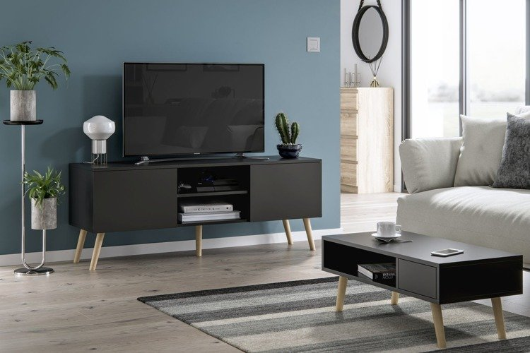 romeo juliet tv unit and coffee table set black matt