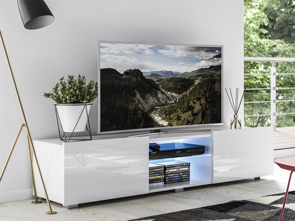 tv unit focus ii white gloss 150cm