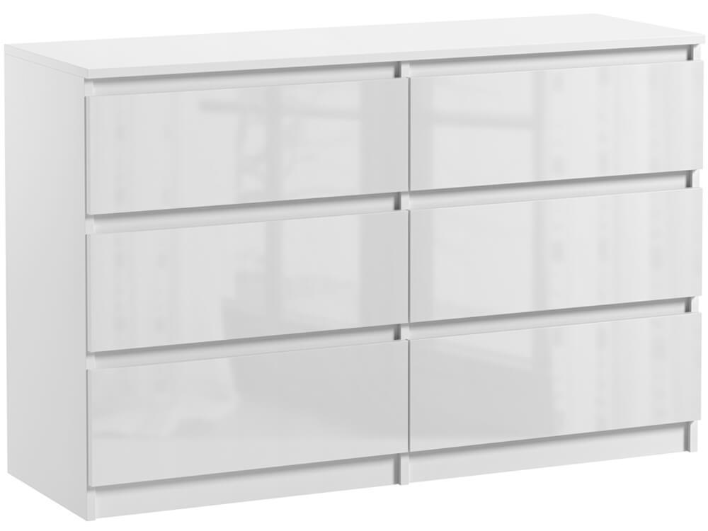 commode 6 tiroirs pari 6 blanc laque 76 x 120 x 35 cm