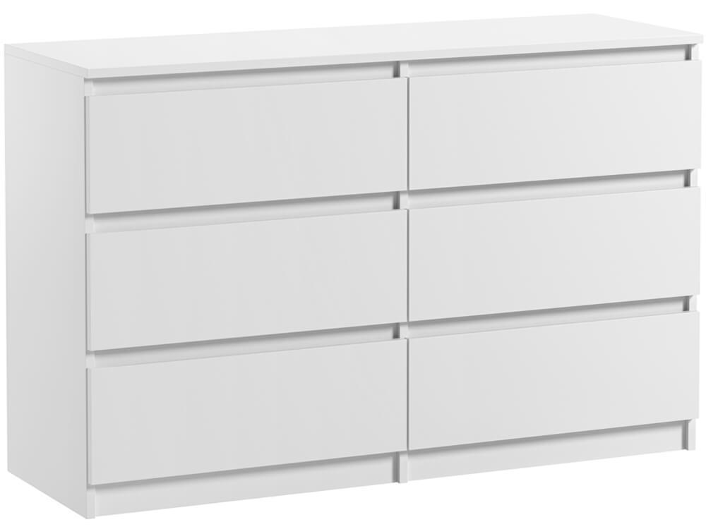 commode 6 tiroirs pari 6 blanc mat 76 x 120 x 35 cm