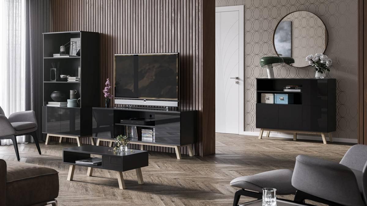 ensemble de meubles de salon vero noir brillant