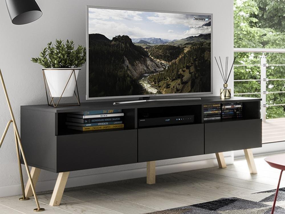 meuble tv astra ii noir mat 150 cm