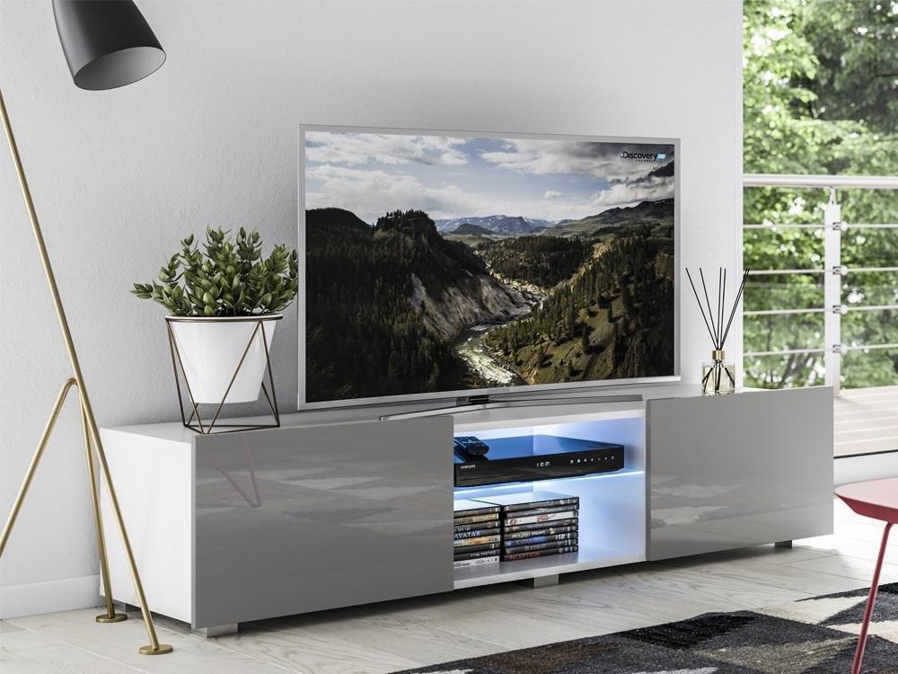 meuble tv focus ii blanc gris brillant 43 x 150 x 35 cm