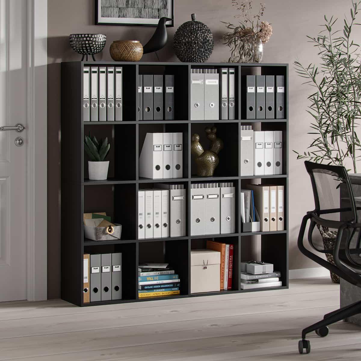 meuble bibliotheque hippocrate 138 x 138 x 30 cm 16 etageres noir