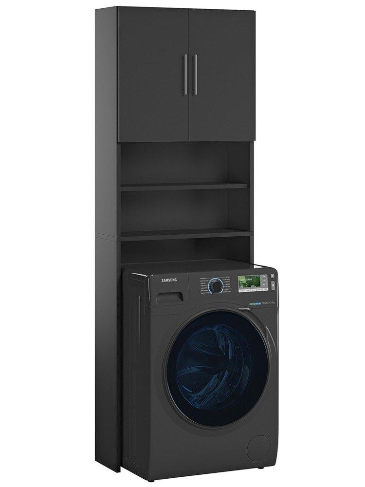meuble pour machine a laver ariel noir mat 190 x 64 x 25 cm