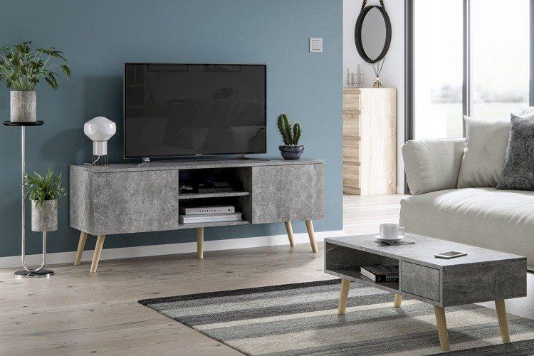 meubles de salon table basse juliette et meuble tv romeo gris