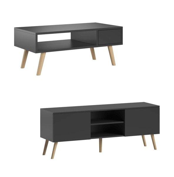 meubles de salon table basse juliette et meuble tv romeo noir mat