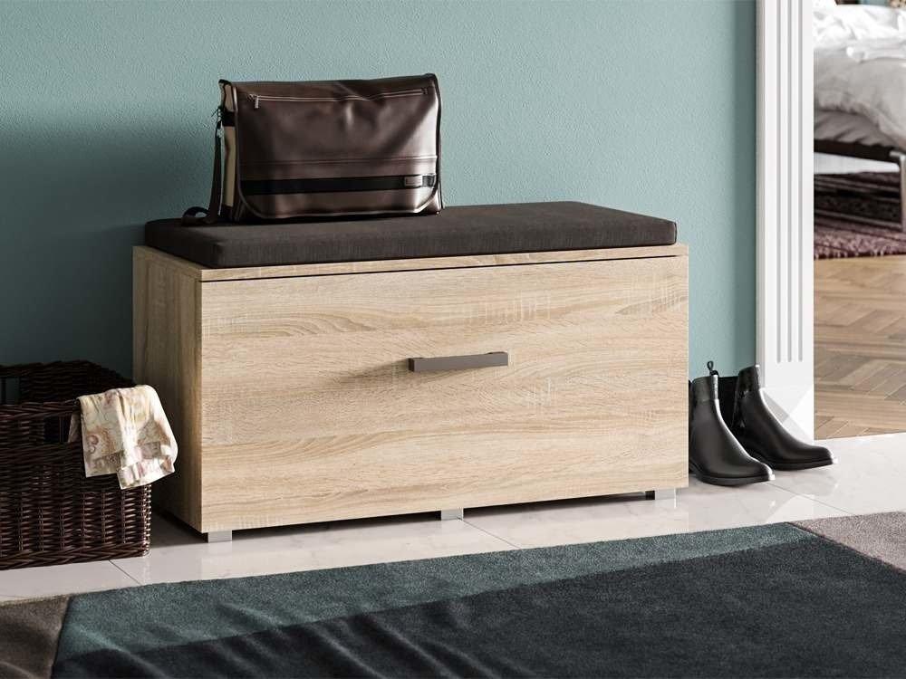 meubles d entree stone chene sonoma finition metal banc porte manteau