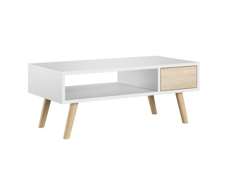 table basse julia blanc et chene sonoma 40 x 80 cm