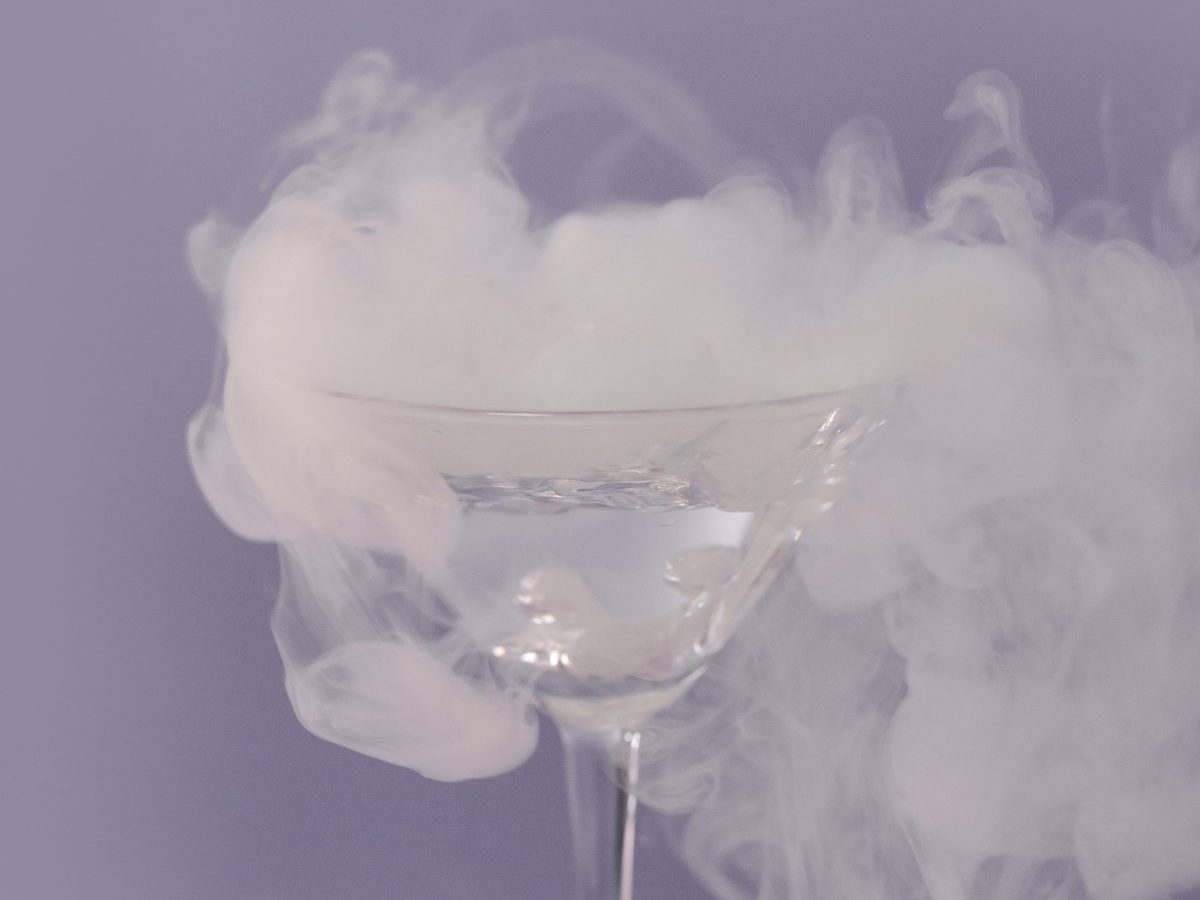 Dry ice in a glass