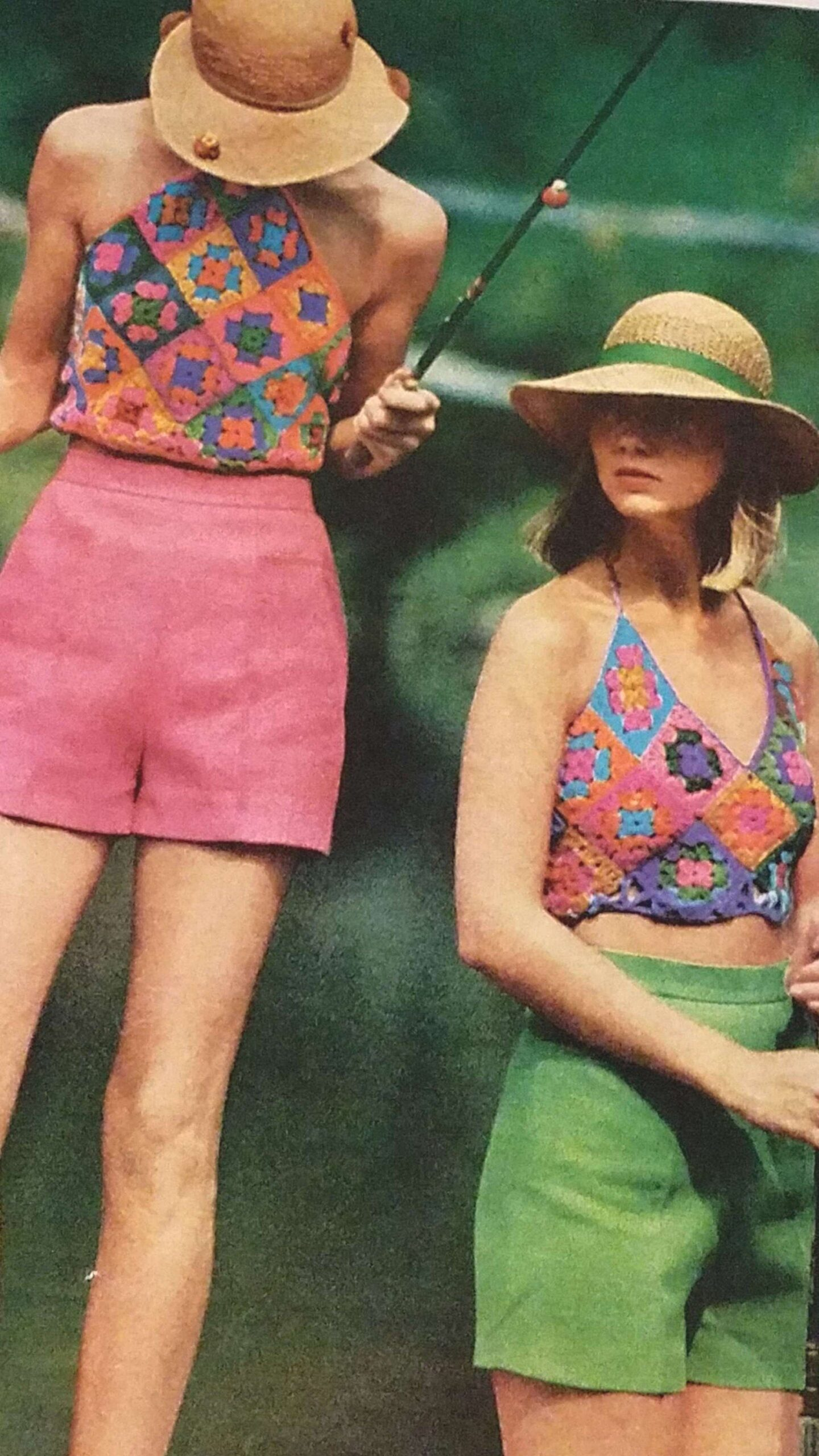 Crochet granny square set of 2 tops vintage pattern 1970s summer