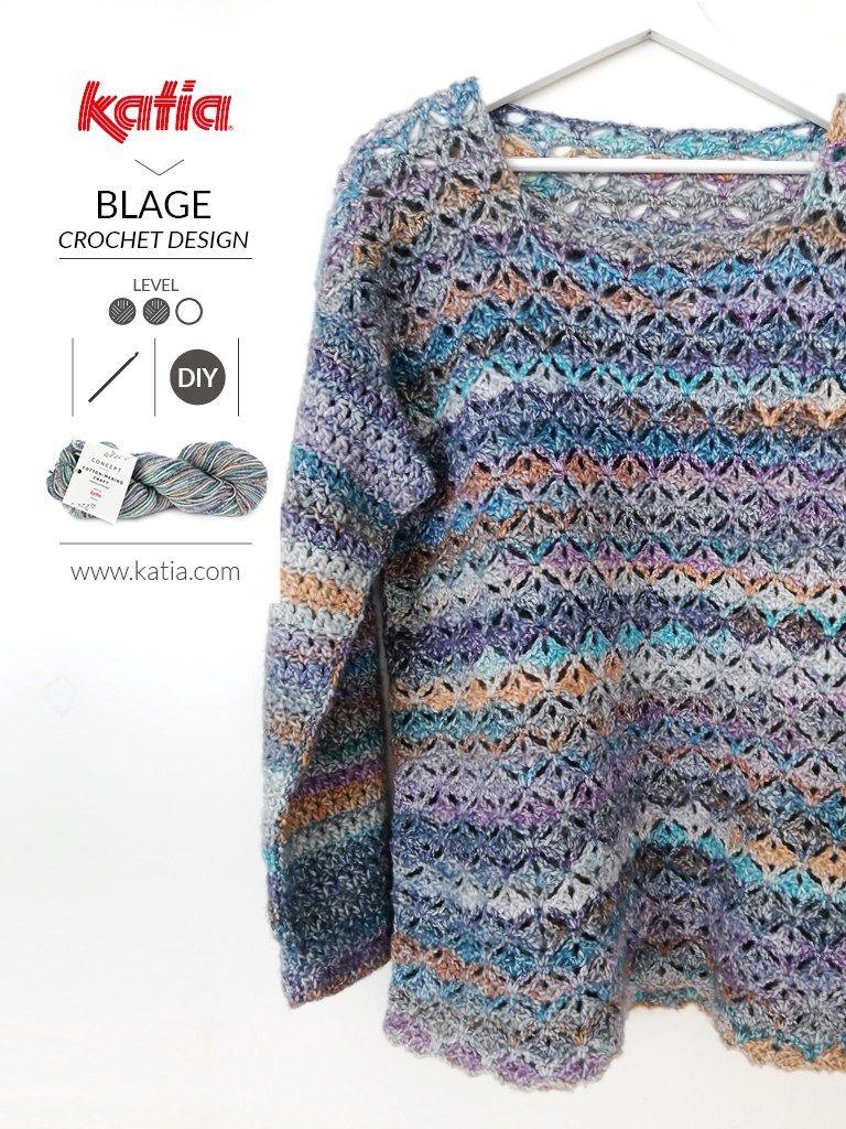 Patron gratuit de pull au crochet pour femme de Blage Crochet Design.