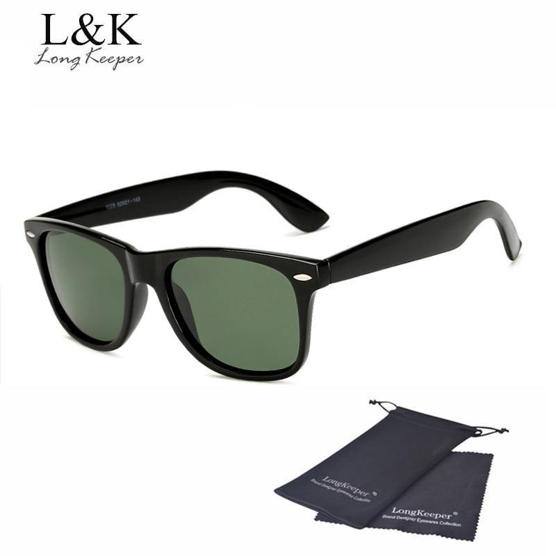 Long Keeper Brand Unisex Retro Polarized Sunglasses Men Women Vintage Eyewear Accessories Black Grey Sun Glasses For Male/Female - Brightblack G15