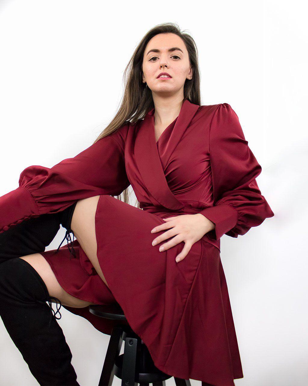 Elye Mini Red Satin Wrap Dress - XL
