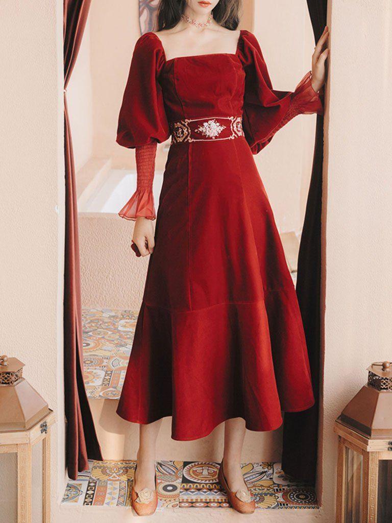 Embroidered Lantern Sleeve Vintage Little Red Dress