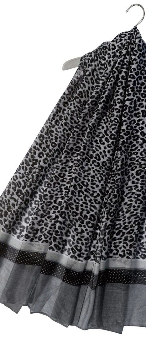 Leopard Print Scarf With Dotty Border