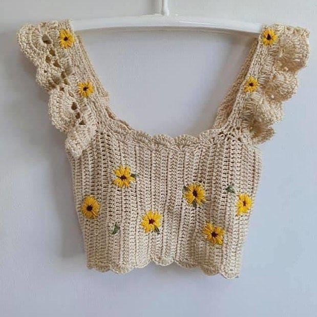 Knitting Croptop, Handmade Top