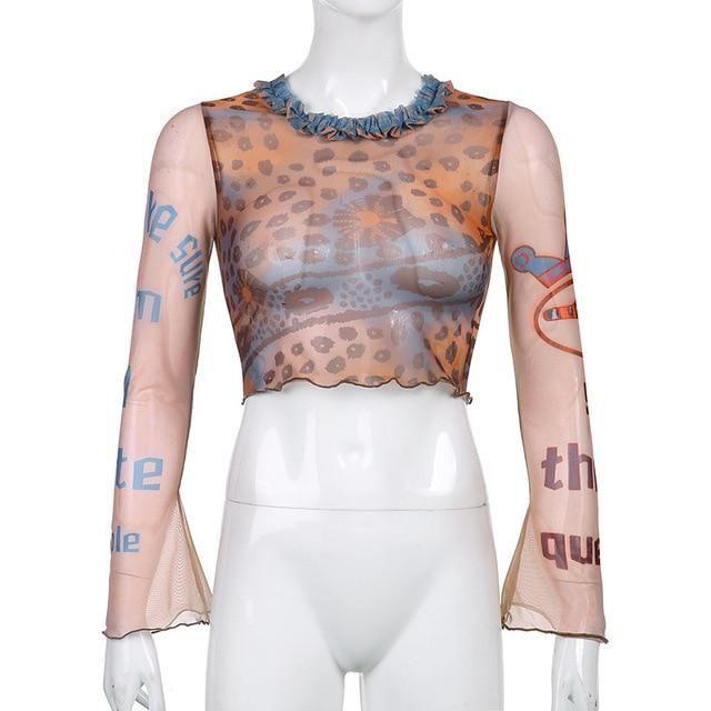 ALLNeon Indie Aesthetics Retro Pattren Mesh T-shirts 90s Fashion Slim O-neck Flare Sleeve Cropped Y2K Tops E-girl Vintage Tees - khaki / M