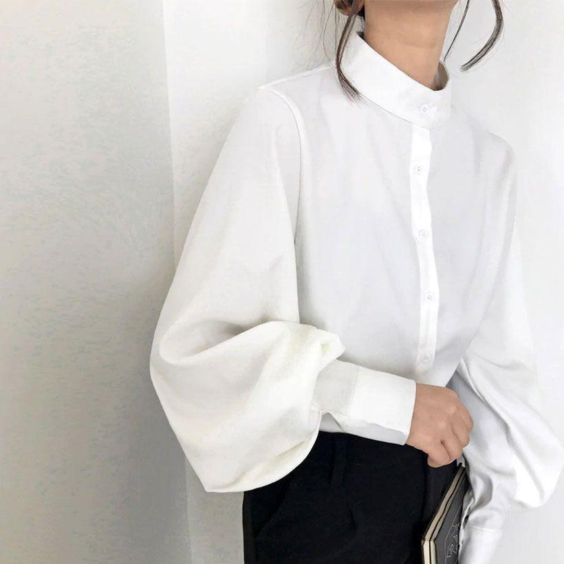 Women's Big Lantern Sleeve Solid Vintage Blouse - White / L