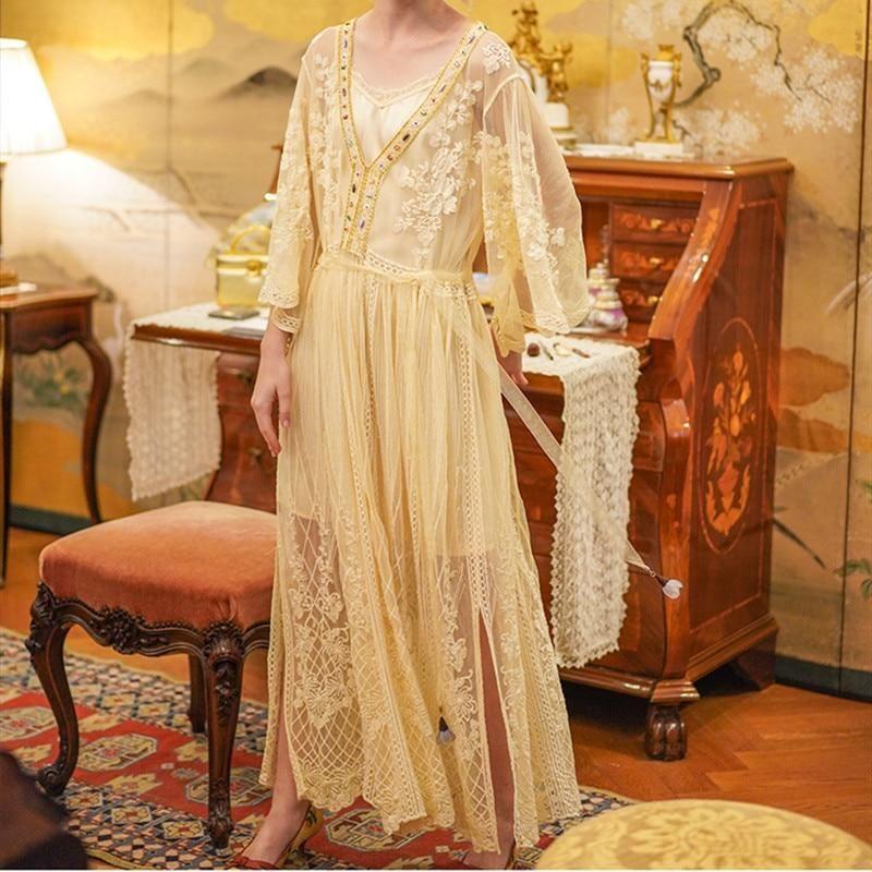 Elegant Embroidered Floral Wisp Dress