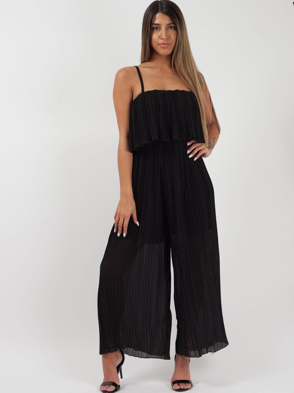 Dhalia Black Pleated Jumpsuit - One Size 8-14