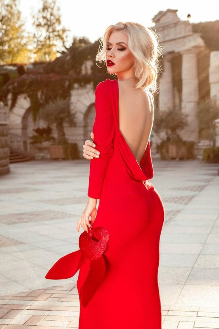 Gorgeous Red Dress Open Back - Red Mermaid Dress Photo Shoots - Holiday Gown - Masquerade Dress
