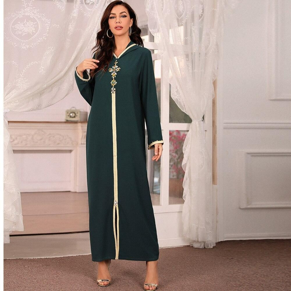 Abaya Djellaba Kaftan women diamond braided finish with long sleeved Muslim hijab Maxi dress Arabic Islamic cloth - dark blue / XL / United States|170