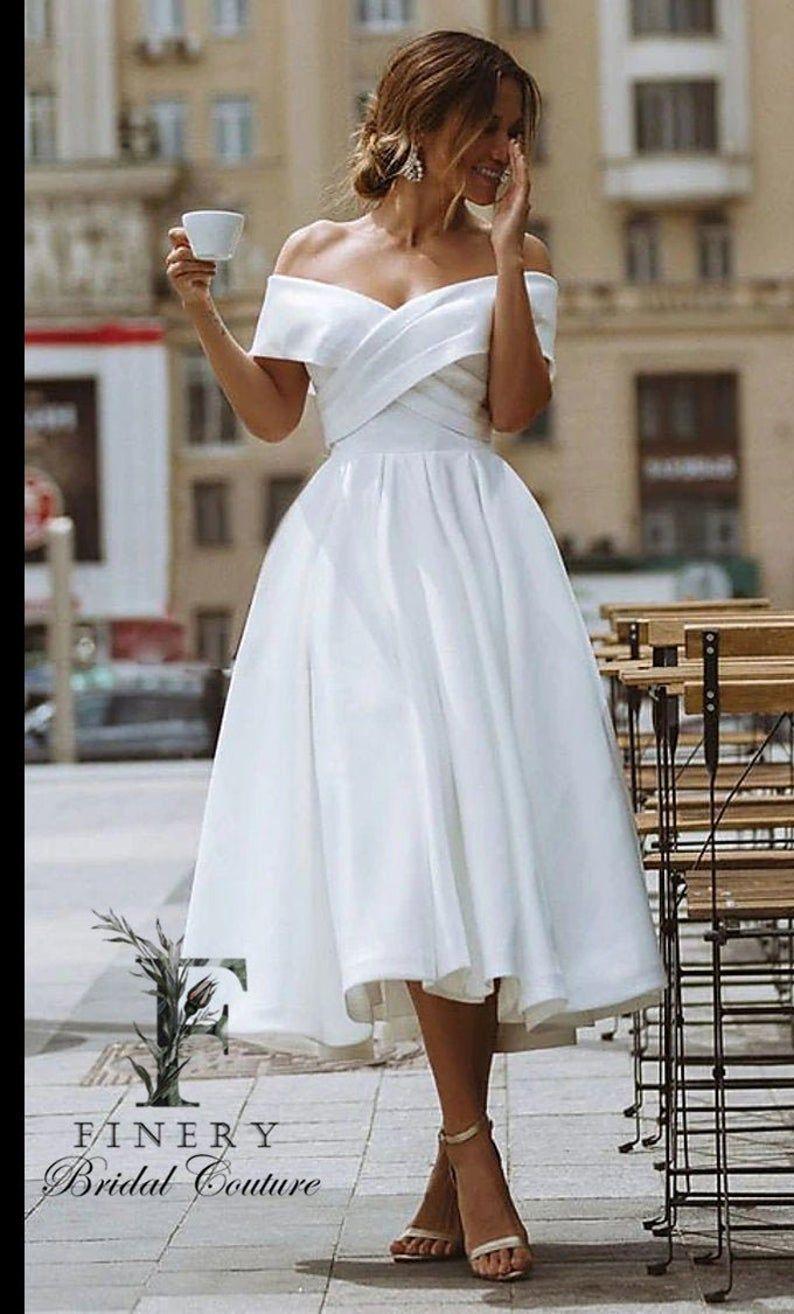 Midi Tea Length Wedding Dress Informal Wedding Dress  Satin | Etsy