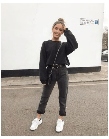 black mom jeans outfit