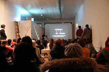 Open Interval living room gallery presents Brett Hanovers      series of meta-lectures.JPG
