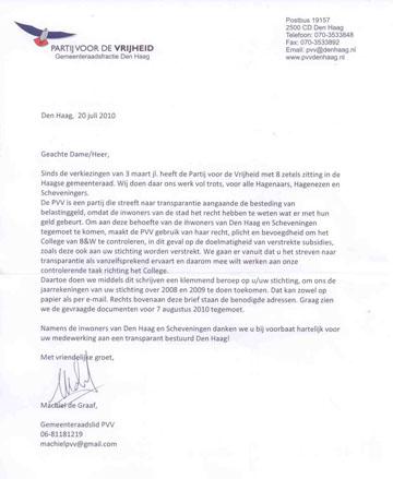 PVV verstuurde deze brief