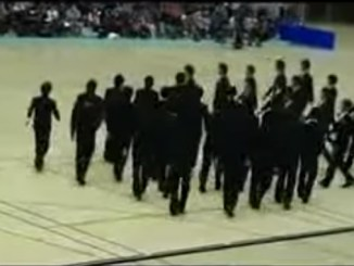 Stunning Japanese synchronized walking routine