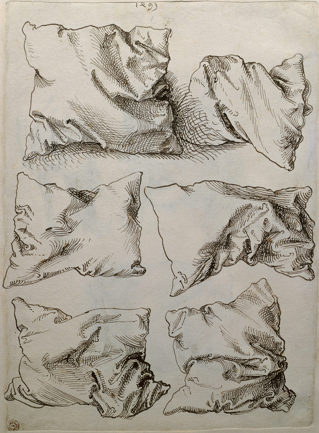 Albrecht Dürer, Six Studies of Pillows (verso)