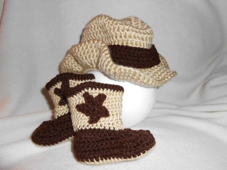 Crochet Baby Cowboy Hat And Boots Pattern Free Ba Cowboy Hat And Boots Crochet Pattern Free Gettingthere