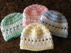 Crochet Baby Hats Patterns Quick Color Band Preemie Beanie Sheepishly Sharing