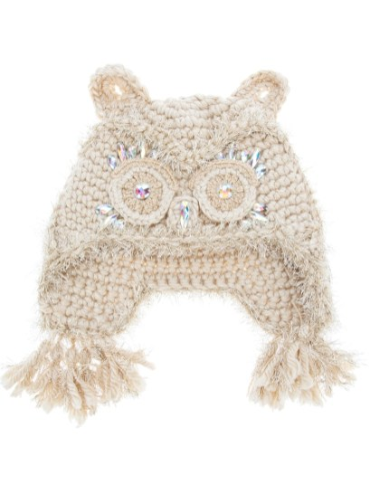 Crochet Owl Hat Pattern Anna Sui Embellished Crocheted Owl Hat In Natural Lyst