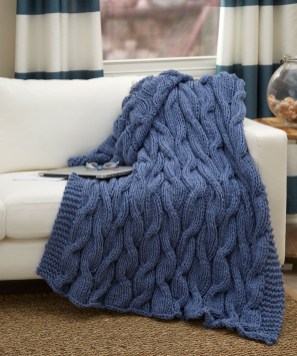 Easy Crochet Afghan Patterns Casual Cables Throw Red Heart