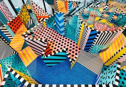Pursue Play: Memphis revisited: Camille Walala's interactive installation, Walala X Play, with bold graphics and geometric shapes