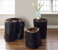 Phillips Collection's Brunt Edge tables in natural and black char