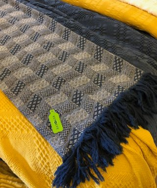 Rosacel's throw, made with Repreve yarn