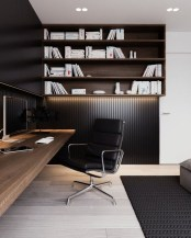 Best Home Office Ideas With Black Walls 21