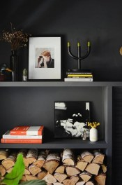 Best Living Room Ideas With Black Walls 39