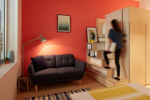 Contemporary Micro Apartment Organized With Boxes 09