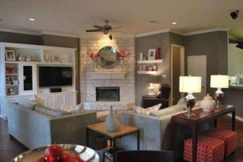 Comfy Winter Living Room Ideas With Fireplace 37