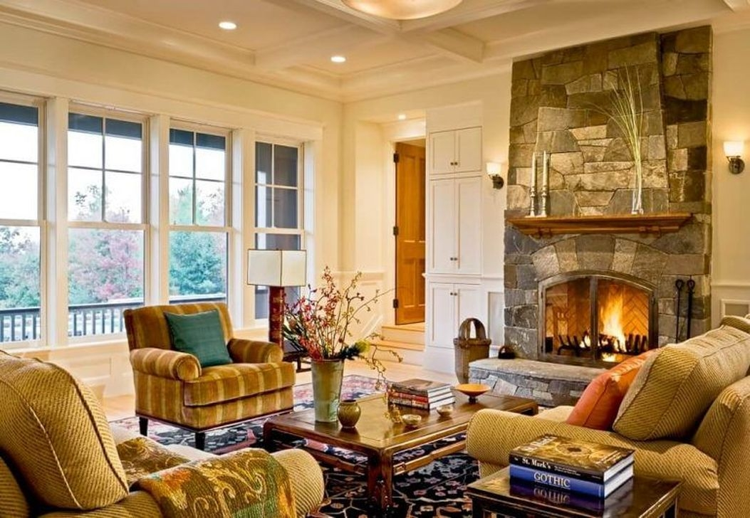 Comfy Winter Living Room Ideas With Fireplace 53